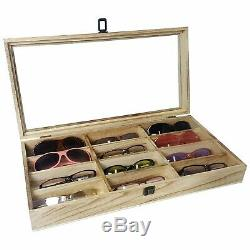 Eyeglass Wood Storage Display Glasses Case 12 Sunglasses Organizer Protector Box