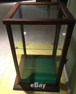 FULL VIEW EARLY STORE COUNTER TOP OAK WOOD/GLASS DISPLAY CASE With2 GLASS SHELVES