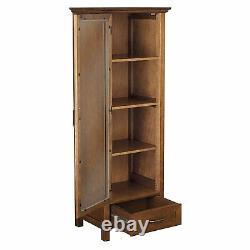 Floor Cabinet Curio Case Display Storage Drawer Glass Doors Oil Oak Finish
