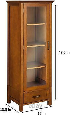 Floor Cabinet Curio Case Display Storage Shelf Glass Doors Elegant Oak Finish