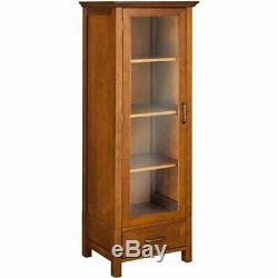 Floor Cabinet Curio Case Display Storage Shelf Glass Doors Elegant Oak Finish