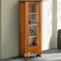 Floor Curio Cabinet Display Storage Case Drawer Glass Door Adjustable Shelves