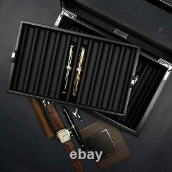 Fountain Pen Display Box Wood Storage Organizer Case Glass Cover Collection Tray