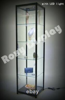 Full Vision Tower Showcase Display Store Fixture with LED Lights #SC-TW20BK