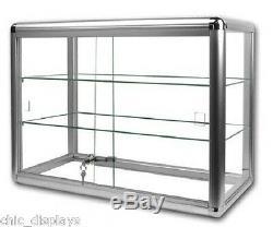 Glass Countertop Display Case Store Fixture Boutique Showcase Key Lock (3) Shelf