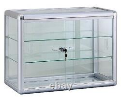 Glass Countertop Display Case Store Fixture with front lock Silver 24x12x18