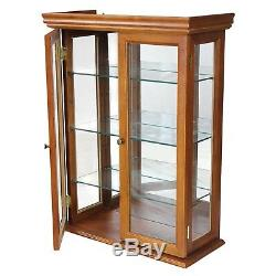 Glass Curio Cabinet Storage Display Case Corner Furniture Wood Shelves Brown