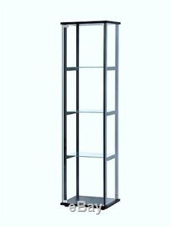 Glass Curio Cabinet Tower Display Case Modern 4 Shelf Room Store Floor Fixtures