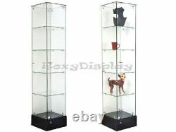 Glass Square Display Tower With Black Base Store Fixture Knocked Down #SC-GS20B