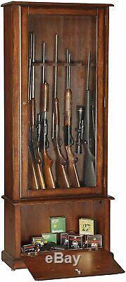 Gun Cabinet Display Case Key Lock Wood Firearms Storage Shotgun Long Rifle Safe