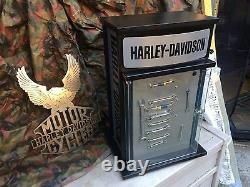 Harley davidson motorcycle retail display case with magnets and storage inside l