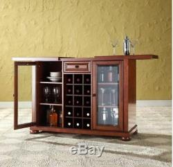Home Mini Bar Liquor Cabinet Display Case Furniture Wood Wine Bottle Rack Brown