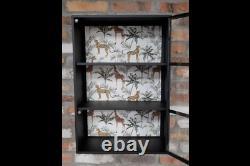 Industrial Wall Cabinet Safari Print Display Unit Black Metal Storage Cupboard