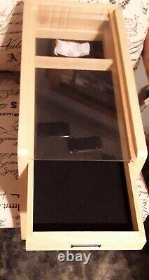 Knife Display Case Storage Cabinet with Shadow Box Top, Tool Box, KC01-NAT