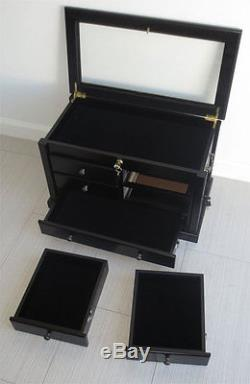 Knife Display Case Storage Cabinet with Shadow Box Top, Tool Box, KC07-BL