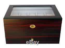 Large 10 + 10 20 Wrist Watch Display Storage Case Box Chest Ebony Coromandel