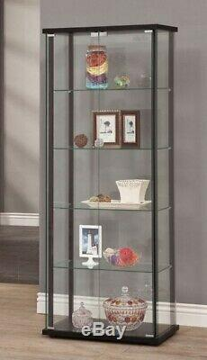 Large Curio Cabinet Black Glass Doors Display Case 5 Shelves Home Storage Tower