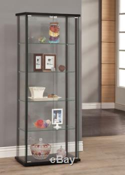 Large Curio Cabinet Black With Glass Doors Display Case 5 Shelves Home Storage