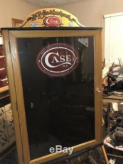 Large Oak Case XX Knife Display Case Lighted With Storage & Key