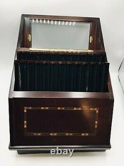 Levenger 22x Vertical Pen Storage Display Box Chest Walnut Pool Table Green