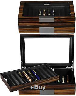 Lifomenz Co Pen Display Box Ebony Wood Pen Display Case, Fountain Pen Storage Pen