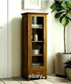 Linen Cabinet Tower Bathroom Glass Shelf Drawer Bath Towel Storage Display Case