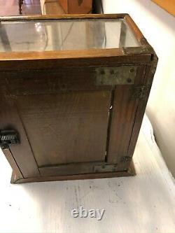 Liverita Etched Glass Store Display Case. Oak and glass. RARE