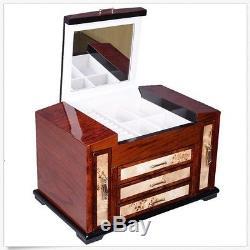 Luxury Wooden Jewelry Case Storage Box Necklace Bracelet Ring Organizer Display