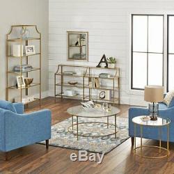 Modern Gold Bookcase Glass Metal Display Book Shelf Storage Organizer NEW