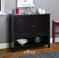 NEW Black Buffet Floor Cabinet Display Storage 2 Doors China Case Server Elegant