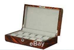 NEW Zebra Wood Finish Ten Watch Box Storage Chest Display Case