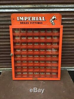 NICE! Vintage 1950s Imperial Brass Fittings Parts Cabinet Store Display Case B6