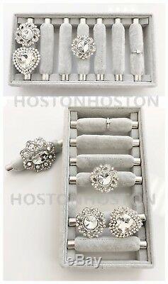 New 7 Bars Ring Velvet Jewellery Display Box Storage Tray Case Holder Stand