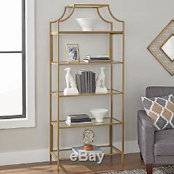 New Contemporary Gold Metal Glass 5-Shelf Collectibles Display Storage Organizer