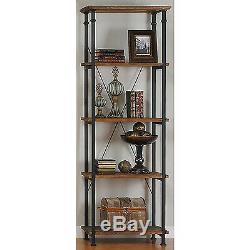 New Vintage Style Book Case Shelf Wood Metal Rustic Storage Open Display Shelves