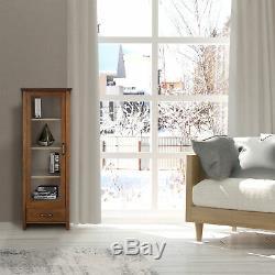 Oak Finish Floor Cabinet Curio Case Display Storage Shelf Glass Doors Elegant