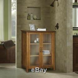 Oak Floor Cabinet Curio Case Display Storage Shelf Box 2 Glass Doors