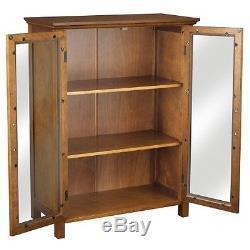 Oak Floor Cabinet Curio Case Display Storage Shelf Box 2 Glass Doors Elegant NIB