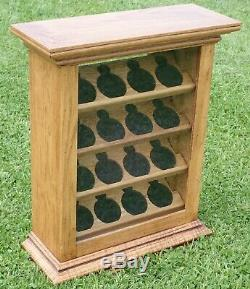 Oak Pocket Watch Jewelry Counter Upright Display Storage Case Cabinet