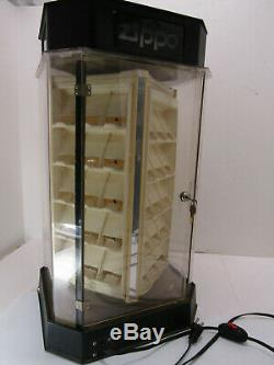 Old 60 Zippo Lighter Store Display With Key Case Lights Up Rotates Works