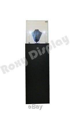 Pedestal Exhibition Stand Display Black Case Store Fixture #SC-PED-BK-L