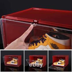 Pulley Sliding Design Stackable Side Drop Sneaker Display Case Storage Shoe Box