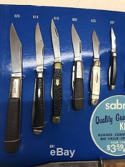 RARE 1980s Store Counter Knife Display Case Vintage with26 Kabar & Sabre Knives #