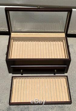 Rare Reed Barton Fountain 60 Pen Ballpoint Display Cabinet Case Storage Wooden