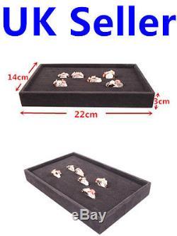 Ring Velvet Jewellery Display Box Cufflinks Storage Tray Case Holder Organizer