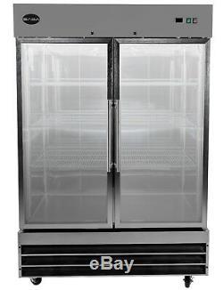 SABA Commercial Upright Freezer, Freezer Storage & Display Case (2 Glass Doors)