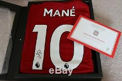 Signed Official Liverpool Store Sadio Mane 19/20 Shirt with Display case + LOA