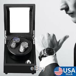 Silent Automatic Rotation Watch Winder 2 Slots Wristwatch Storage Display Case