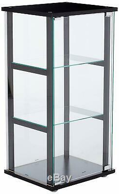 Small 3-Shelf Glass Curio Cabinet Display Case Home Storage Black and Clear