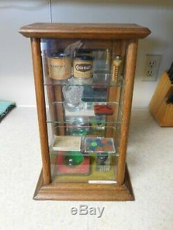 Small Antique CHEWING GUM Mercantile COUNTRY STORE, Oak & Glass, Display Case